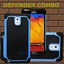 Hybrid Rugged Impact Rubber Hard Case Cover for Samsung Galaxy Note 3 III + Flim