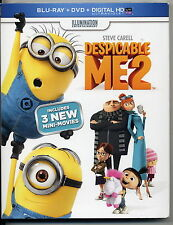 New DESPICABLE ME 2  BLU-ray + DVD + DIGITALHD 3 MINI MOVIES + LUNCH BOX
