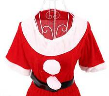 Women Sexy Christmas Xmas Santa Claus Velvet Costume Outfit Dress+Hat+Belt+Glove