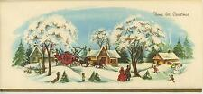 VINTAGE CHRISTMAS VILLAGE HOUSE SNOWMAN 1 YORKSHIRE TERRIER PUPPY DOG TREE CARD