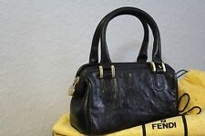 "FENDI BLACK LEATHER mini SATCHEL Purse Vintage Treasure  ""Rare"""