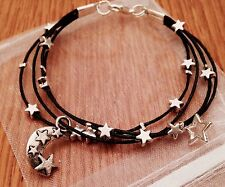 Silver Plated Moon & Star Black Cord Bracelet With Charms Punk Rock Emo Goth