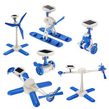 6 in 1 DIY Creative Robots Plane Car Kid Educational Solar Powered Kit Toy Gift