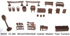 Marx reisssue western town playset  outside furniture in brown soft plastic