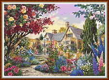 "'ROMANTIC MANOR HOUSE' Cross Stitch Chart (22""x16"") Challenge/Garden/Flowers NEW"