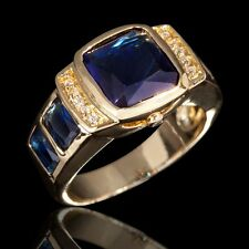 Jewelry Size 9 Mens 18K Gold Filled Blue Sapphire Fashion Engagement Luxury Ring