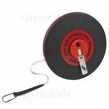 30M BRANDED SURVEYOR BUILDERS FIBREGLASS MEASURE MEASURING TAPE ROLL REEL LONG