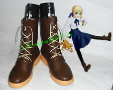 Fate/Stay Night Saber Arther Brown Short Cosplay Shoes Boots H016