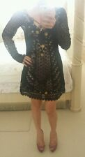 MEGHAN LOS ANGELES BLACK LACE CROCHET DRESS & MOROCCAN METAL DECALS - Sz 0, NWT