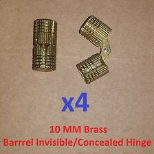 4 pc BRASS Barrel Invisible/Concealed Hinge 10 MM/10MM Door/Cabinet 3/8 Lot