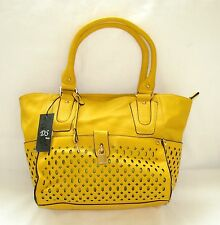 NEW-DS YELLOW LEATHERETTE+LOCK,KEY CHARM+GOLD+SHAPE CUT OUTS TOTE,PURSE,BAG