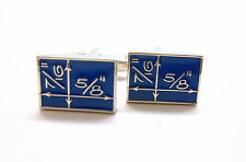 Blue Enamel Blueprint Cufflinks Architect Builder Contractor Construction NIB