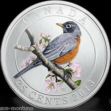 2013 AMERICAN ROBIN - Birds of Canada Series 11th Coin - 25 cents Quarter Dollar