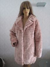 NWT Brave Soul Ladies Faux Fur Pinky colour Coat, Jacket size Uk 16