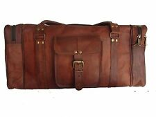 "24"" Men's genuine Leather luggage gym weekend overnight duffle bag large vintage"