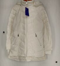 Curations S Packable Nylon Down Faux Fur Hooded Jacket White NEW