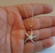 925 STERLING SILVER STAR FISH  PENDANT NECKLACE W/ 2.25 CT OPAL &  ACCENTS/ 18''