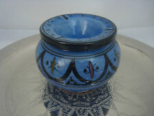 Large rich blue and black handpainted ceramic Moroccan ashtray.Turkish/ethnic