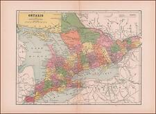 ONTARIO, CANADA, antique map original 1886