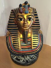 "King Tut Ceramic Head On Mount, Made In Egypt, 12"" Tall Overall, Approx 8 Pounds"