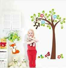 Hand Carving Monkey Fox Tree Kids Room Nursery Art Mural Wall Stickers UK