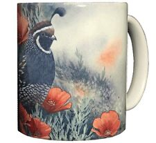 California Quail & Poppies 11 OZ Ceramic Coffee Mug Tea