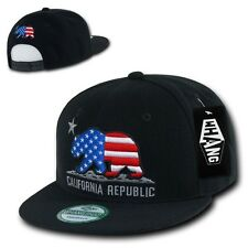 California Republic Black US Flag Bear USA Flat Bill Snapback Snap Back Cap Hat