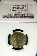 1920 NGC UNC Details Surface Hairlines Great Britain One Shilling!! #B5148