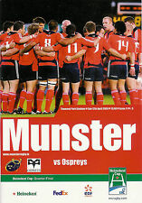 Munster v Ospreys Heineken Cup Quarter-Final 12 Apr 2009 RUGBY PROGRAMME