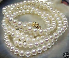 Beautiful!7-8mm White Akoya Cultured Pearl Necklace 34""