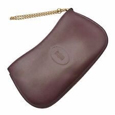Authentic Cartier Must de Small Accessories Pouch Bordeaux Leather #K161055