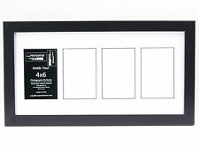 4 Opening Glass Face 10x20 Black Picture Frame Holds 4x6 Media White Collage Mat
