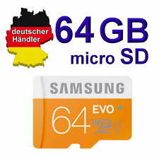 64 GB Samsung EVO micro SD Speicherkarte Class 10 SDXC inclusiv SD Adapter