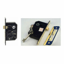 Pack of 2 Keyed Alike 3 Lever 64mm Door Locks Same Key Polished Brass + 4 Keys