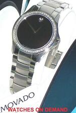 NEW MEN'S MOVADO MILITARY 0605869 BLK DIAL 0.70ct APPROXIMATELY DIAMOND WATCH **