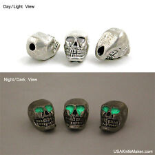 "Skull bead Pewter Vertical 3/16""hole Glow n Dark Eyes JEBE-TM-002"