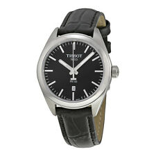 Tissot PR100 Black Dial Black Leather Ladies Watch T1012101605100
