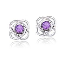 925 Silver 3/4ct Amethyst Love Knot Stud Earrings