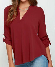 Sexy Womens V-neck T Shirt OL Tops Blouse Casual Long Sleeve Chiffon