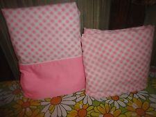 CANNON PINK & WHITE GINGHAM (2PC) TWIN SHEET SET PERCALE COTTON BLEND