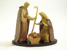 Little Plastic One Piece Nativity Scene Wood Look Vintge Jesus Mary Joseph Italy