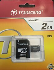 2GB Micro SD Memory card + SD SDHC Adapter Transcend 2 GB NEW MERCHANDISE