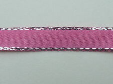 2m of 7mm WIDE SILVER EDGED PINK RIBBON - R3