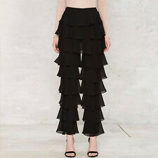 Women Fashion Casual Loose Pleated Ruffle Flared Pants Party Chiffon  Trousers S