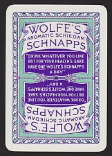 1 SINGLE VINTAGE PLAYING SWAP CARD OLD WIDE ALCOHOL WOLFE'S AROMATIC SCHNAPPS PU