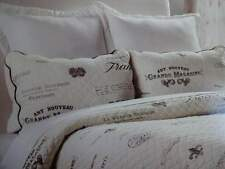 MARANO Country FRENCH SCRIPT GRAY CREAM Full QUEEN Scalloped QUILT Sham SET 3PC