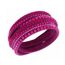 Leather Slake Style Bracelet with Austrian Crystals (Pink) | Jewellery