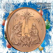 Nativity Christmas Design 1oz .999 Copper round with Tree Back