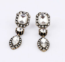 Hot Fashion Retro Clear Rhinestone Geometry Oval Leaf Water Drop Pendant Earring