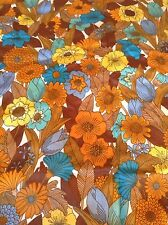 """Vintage Retro Flower Power Curtains / Fabric Lined Vw Camper 52"""" Long X 62"""" Wide"""